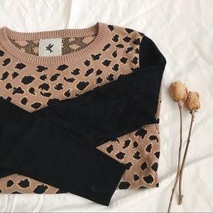 🍦One Teaspoon Knit Printed Sweater Suede Sleeves